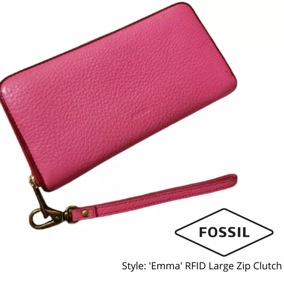 Fossil | Emma RFID Large Zip Leather Clutch